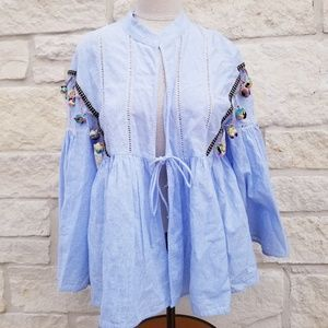 Zara Trf Collection Tie Front Blouse size small